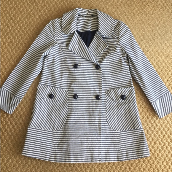 Topshop Jackets & Blazers - Topshop Nautical Striped Peacoat Blazer size 2 XS